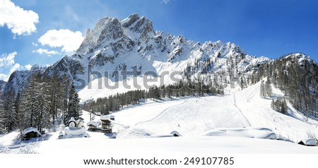 Dolomite mountains, Massif Croda Rossa di Sesto (German: Sextener Rotwand) or Zehner. It is a mountain in the Sexten Dolomites in South Tyrol, Alto Adige, Italy - UNESCO World Heritage - stock photo