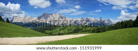Dolomite, south Tyrol, view to Kreuzkofel and Cunturines - stock photo