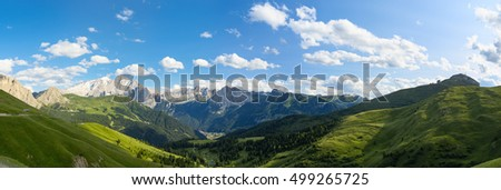 Dolomites alps, amazing panoramic landscape at Italian South Tyrol.
