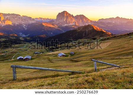 Dolomites Alps in Summer. Odle mountains, taken from the Seceda refuge, Italian alps - stock photo