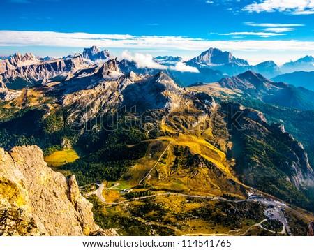 Dolomites beautiful scenery (Monte Pelmo, Averau, Civetta) - stock photo