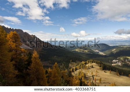 Dolomites, Italy. The Dolomites  are a mountain range located in northeastern Italy. - stock photo