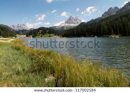 Dolomites Lake with Summer Colors - Italy