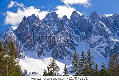 Dolomites Mountain in winter, by San Candido, Alto Adige Italy