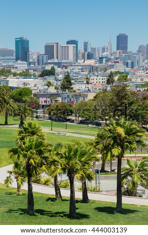 Dolores park in San Francisco - stock photo