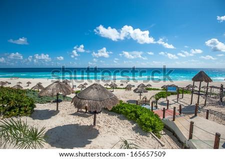Dolphin Beach panorama, Cancun, Mexico - stock photo