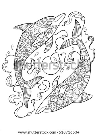 Dolphin Coloring Book Adults Raster Illustration Stock ...