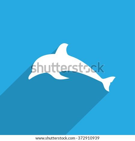 Dolphin flat icon illustration - stock photo