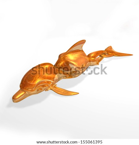 Dolphin Robot. Computer generated design. Amber textured  - stock photo