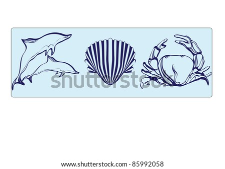 dolphins, shells and crab