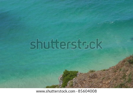 Dolphins swimming off the headland of Byron bay in Queensland Australia - stock photo