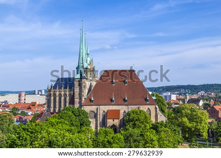 Dom hill of Erfurt Germany in afternoon light - stock photo