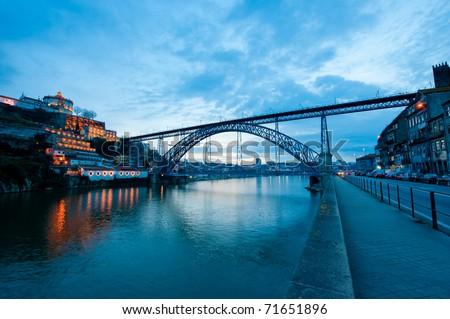 Dom Luis Bridge illuminated at night. Oporto, Portugal  western Europe - stock photo