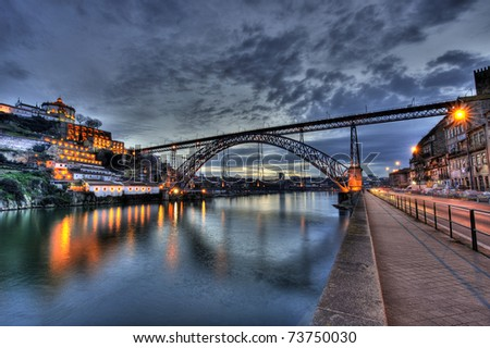 Dom Luis Bridge illuminated at night. Oporto, Portugal western Europe - stock photo