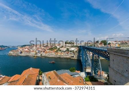 Dom Luis bridge in Porto, Portugal - stock photo