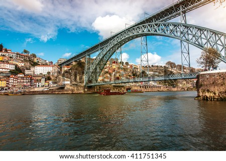 Dom Luis bridge in Porto, the beautiful city on the north of Portugal - stock photo