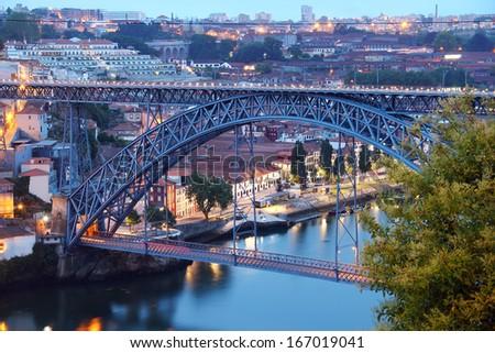 Dom Luis Bridge (Ponte Luis I) in the evening, Porto, Portugal - stock photo