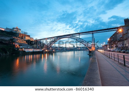 Dom Luis I Bridge illuminated at night. Oporto, Portugal  wester - stock photo