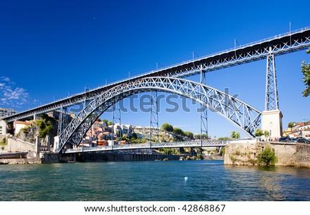 Dom Luis I Bridge, Porto, Douro Province, Portugal - stock photo