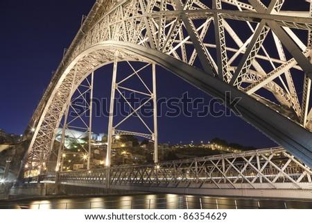 Dom Luis I Bridge, Porto. Night view of Dom Luis I Bridge, Porto, Portugal. - stock photo