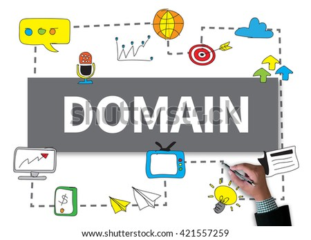 DOMAIN businessman work on white broad, top view - stock photo