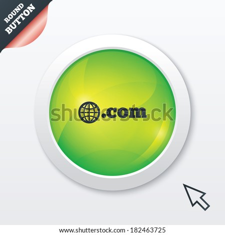 Domain COM sign icon. Top-level internet domain symbol with globe. Green shiny button. Modern UI website button with mouse cursor pointer. - stock photo