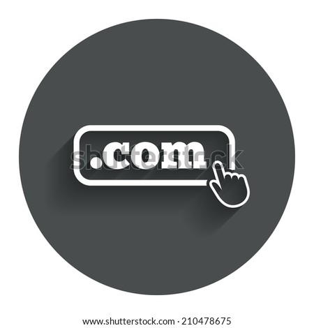Domain COM sign icon. Top-level internet domain symbol with hand pointer. Circle flat button with shadow. Modern UI website navigation. - stock photo