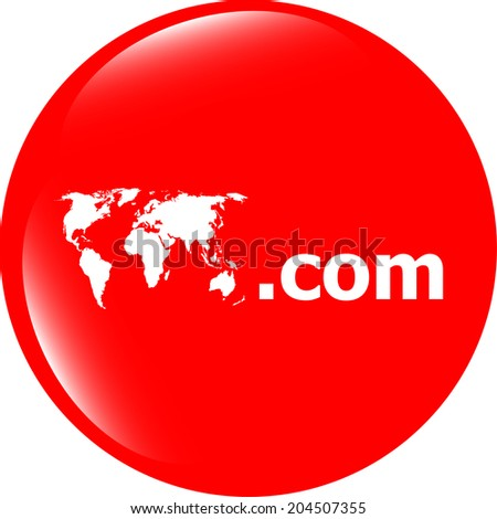 Domain COM sign icon. Top-level internet domain symbol with world map - stock photo