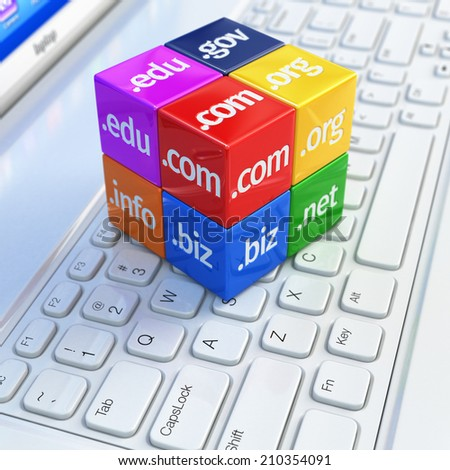 Domain concept. Cubes on white laptop keyboard. 3d - stock photo