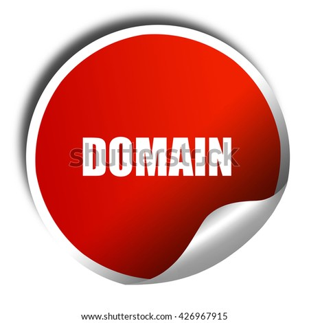 domain, 3D rendering, a red shiny sticker - stock photo