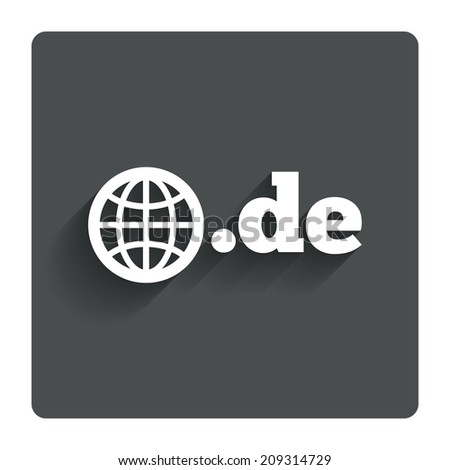 Domain DE sign icon. Top-level internet domain symbol with globe. Gray flat button with shadow. Modern UI website navigation. - stock photo