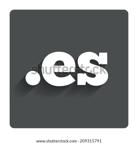 Domain ES sign icon. Top-level internet domain symbol. Gray flat button with shadow. Modern UI website navigation. - stock photo
