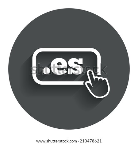 Domain ES sign icon. Top-level internet domain symbol with hand pointer. Circle flat button with shadow. Modern UI website navigation. - stock photo