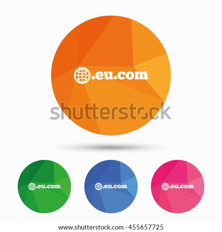 Domain EU.COM sign icon. Internet subdomain symbol with globe. Triangular low poly button with flat icon.  - stock photo