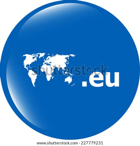 Domain EU sign icon. Top-level internet domain symbol with world map - stock photo