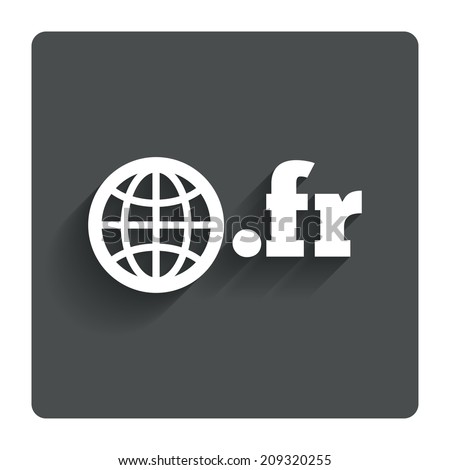 Domain FR sign icon. Top-level internet domain symbol with globe. Gray flat button with shadow. Modern UI website navigation. - stock photo