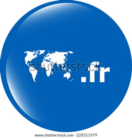 Domain FR sign icon. Top-level internet domain symbol with world map - stock photo
