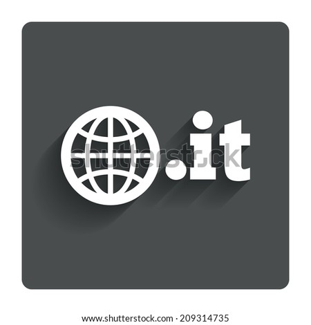 Domain IT sign icon. Top-level internet domain symbol with globe. Gray flat button with shadow. Modern UI website navigation. - stock photo