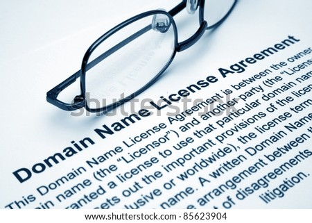 Domain name license agreement - stock photo