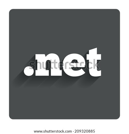 Domain NET sign icon. Top-level internet domain symbol. Gray flat button with shadow. Modern UI website navigation. - stock photo