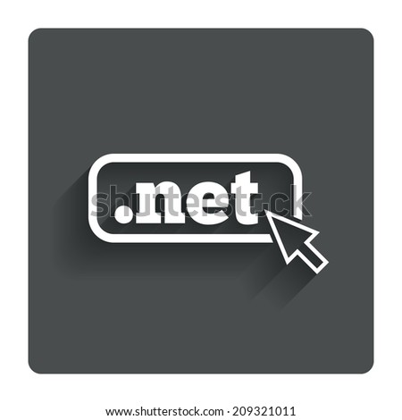 Domain NET sign icon. Top-level internet domain symbol with cursor pointer. Gray flat button with shadow. Modern UI website navigation. - stock photo