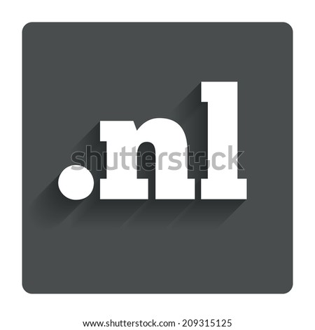 Domain NL sign icon. Top-level internet domain symbol. Gray flat button with shadow. Modern UI website navigation. - stock photo