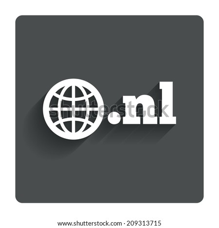 Domain NL sign icon. Top-level internet domain symbol with globe. Gray flat button with shadow. Modern UI website navigation. - stock photo