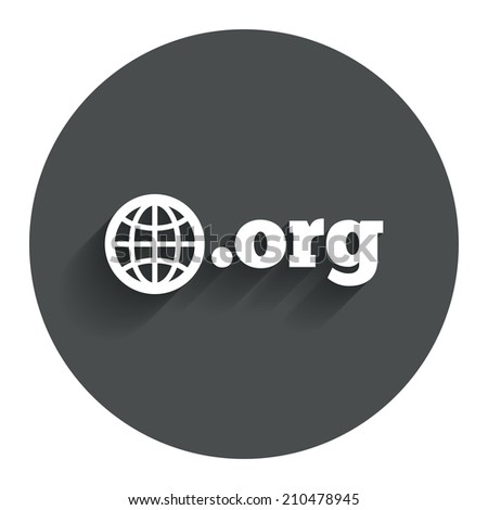 Domain ORG sign icon. Top-level internet domain symbol with globe. Circle flat button with shadow. Modern UI website navigation. - stock photo