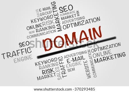 DOMAIN word cloud, business concept - stock photo