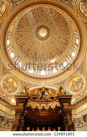 Dome and baldacchino at St. Peter's Basilica in Vatican City - stock photo