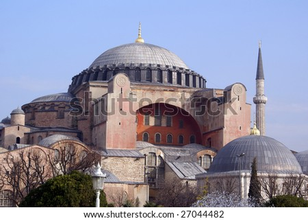 Dome and minaret of Hagya Sophya in Istanbul - stock photo