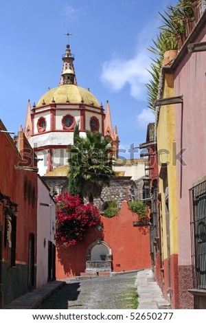Dome and rear view of La Parroquia (Church of St. Michael the Archangel) in the historic Mexican city of San Miguel de Allende. - stock photo