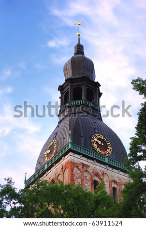 Dome church at the sunset in Riga, Latvia - stock photo