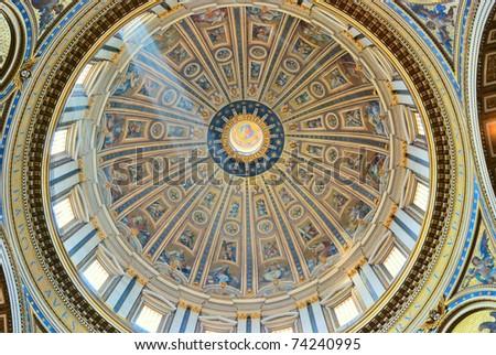 Dome in basilic St.Pietro of Vatican Roma Italy - stock photo